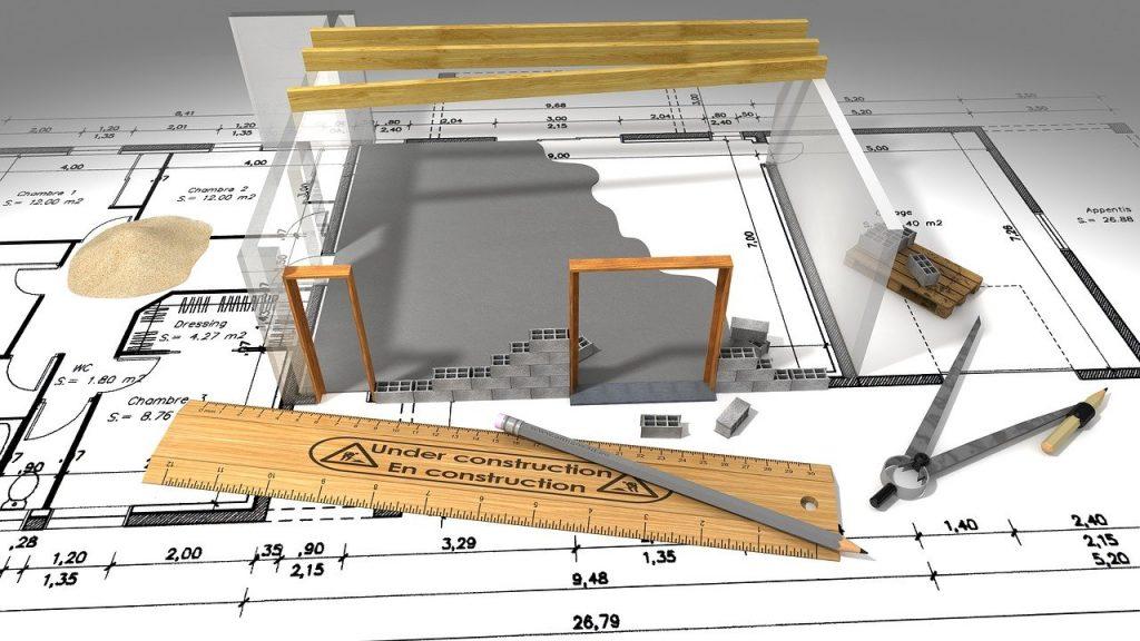 Plan d'architecte, pour construction maison et maquette